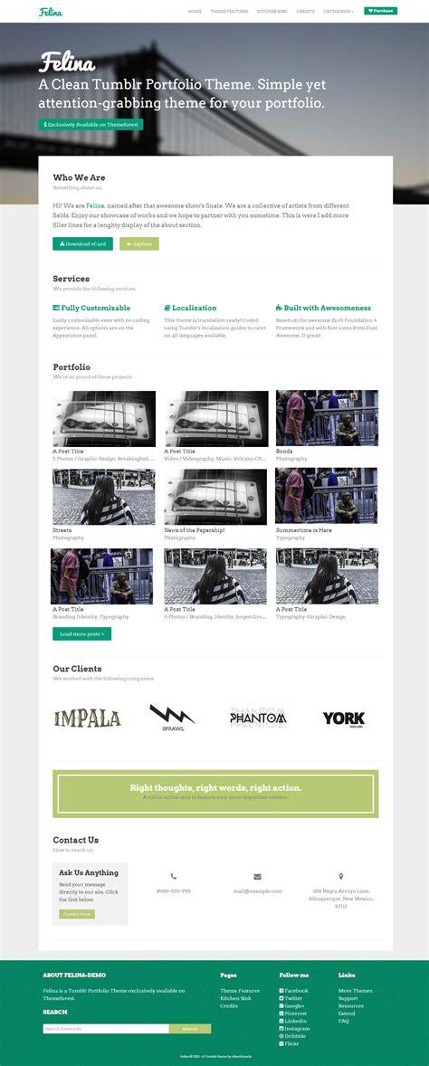 themes for tumblr homepage felina tumblr portfolio theme by oliverdionela themeforest