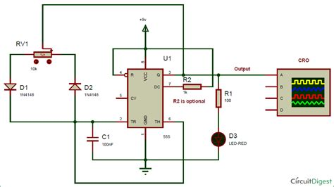 pwm generation using 555 timer ic circuit diagram electronic