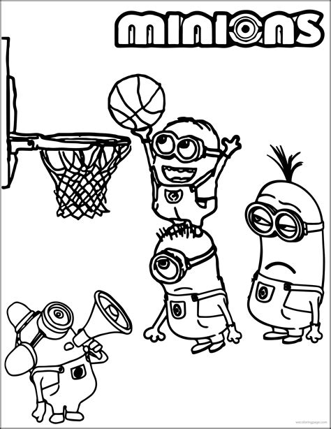 funny basketball coloring pages minion playing basketball coloring pages canvas patterns