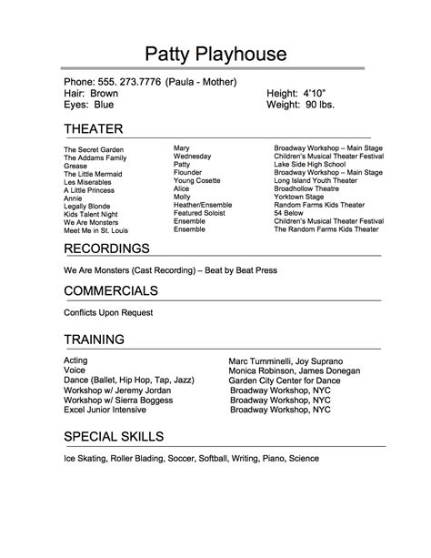 The Art Of The Perfect Theatrical Resume Broadway Workshop Broadway Resume Template
