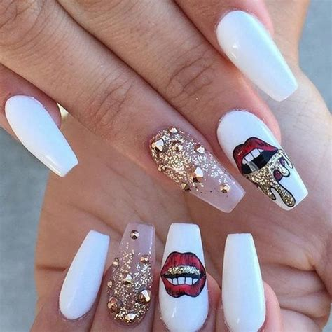 Lip Manicure white gold nail design coffin nails
