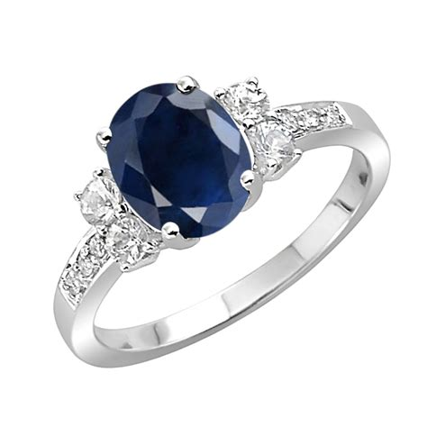 Gemstone Rings Online 0.50 Ct 1.00 Ct Blue Sapphire White Gold
