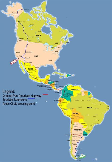 map of the pan american highway the road in the world englishošaca