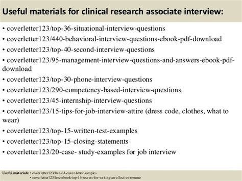 clinical research associate cover letter top 5 clinical research associate cover letter sles
