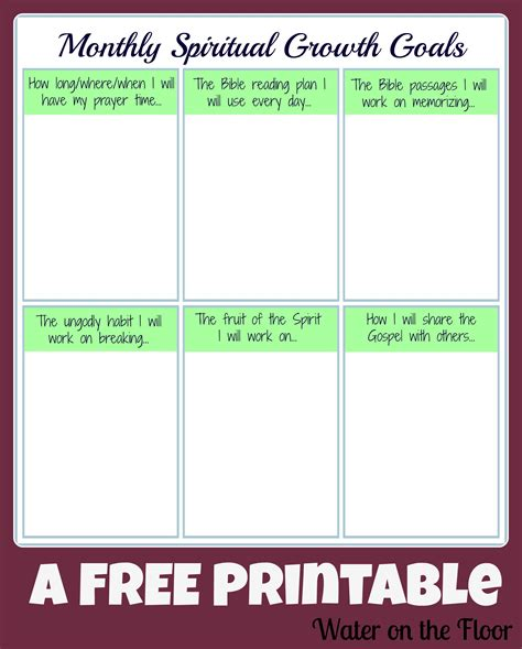monthly spiritual growth goals printable water
