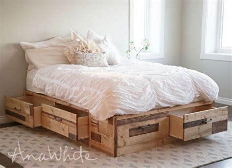 wood storage bed ana white brandy scrap wood storage bed with drawers