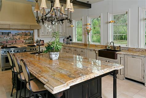 kitchen island with granite brown granite countertop with waterfall edges on black wooden kitchen island plus black wooden