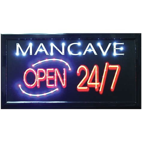 led lights for man cave new man cave open 24 7 led hanging sign light up your bar