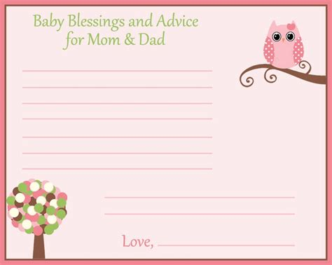 baby shower advice cards free template owl advice cards pink or green for baby shower set of 50