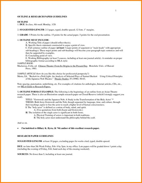 research paper format exle 7 mla research paper outline letter format for