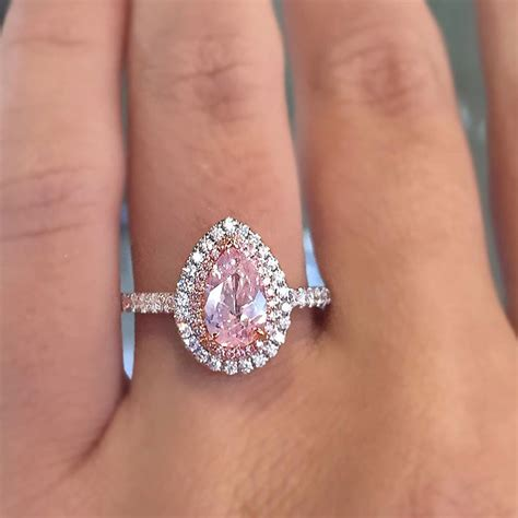Pink Engagement Ring by 18k White Gold Pink Pearshape Engagement Ring