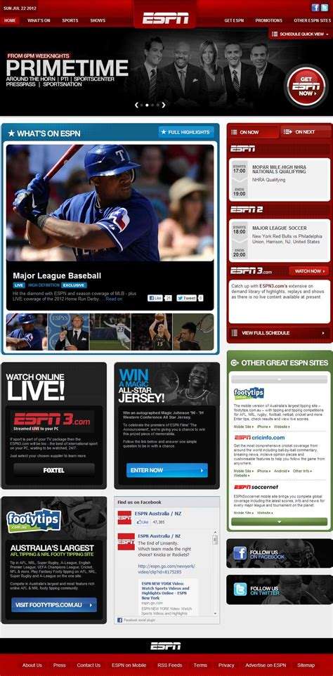 espn australia website rebuild lafinboy productions