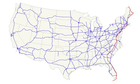 map of the united states with major highways u s route 1