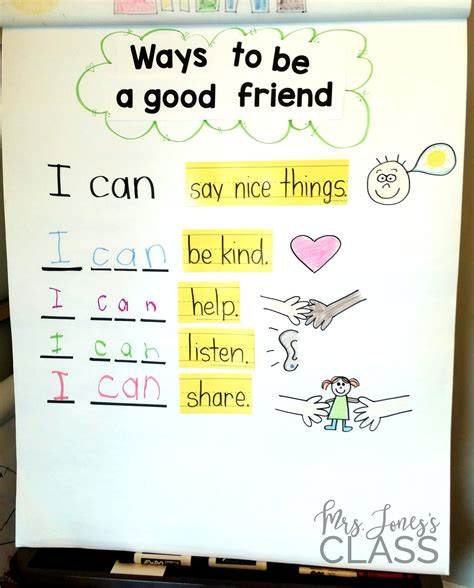 kindergarten activities on friendship ways to be a good friend anchor chart this unit is