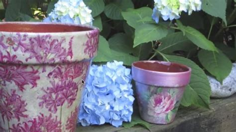 Decoupage Clay Pots Ideas - how to decoupage and weatherproof clay pots they re