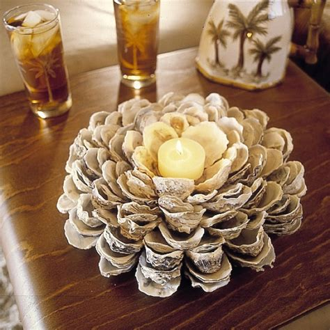 oyster shell craft projects candle centerpiece with seashells centerpieces