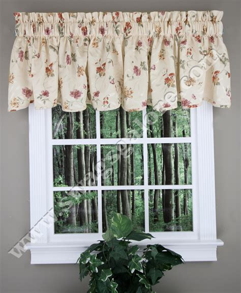 scalloped curtains whitfield floral scalloped curtain valance kitchen valances