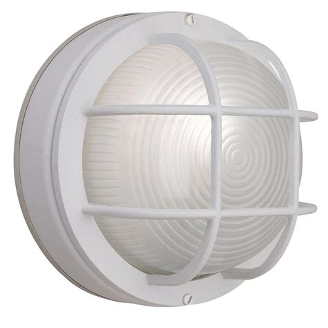 white outside light fixtures hton bay 1 light white outdoor round wall bulkhead