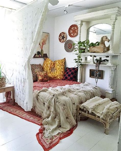 bohemian style bedrooms 25 ways to use curtains as space dividers digsdigs