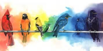 Watercolour Duvet Cover Rainbow Birds Painting By Antony Galbraith