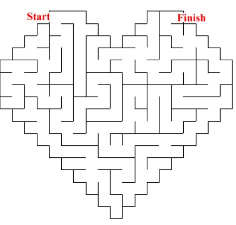 printable love maze heart coloring pages part 3