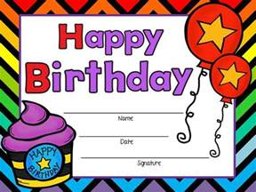 printable birthday certificates certificate templates
