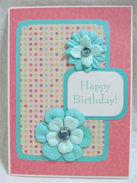 Handmade Cards With Flowers - 1 pink and ferozy flower style handmade card with simple