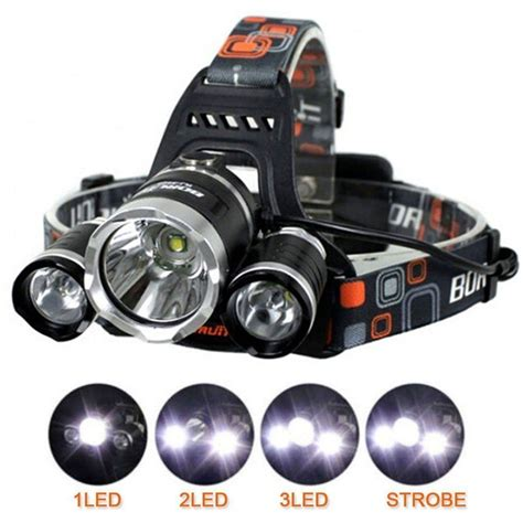 cree led rechargeable headl light 6000 lm lumens 3 x xml cree t6 led rechargeable torch