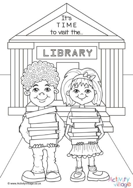 color library time to visit the library colouring page