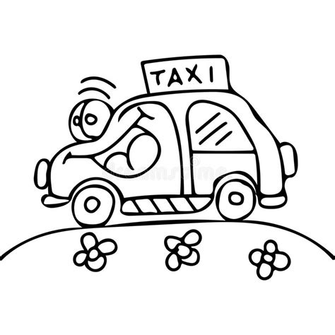 taxi car coloring page taxi car kids coloring pages stock illustration