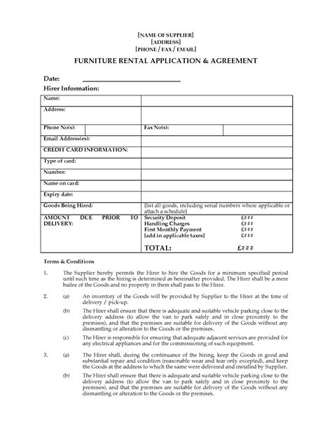 furniture rental contract template uk furniture rental agreement forms and business