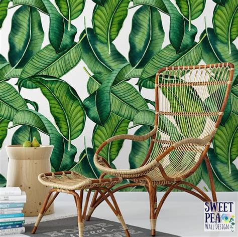 temporary wallpaper banana leaf bold removable wallpaper patterns for small bathrooms