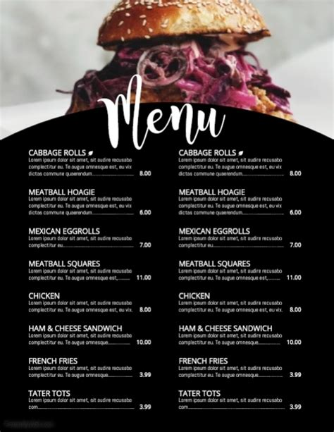 Menu Template Postermywall Menu Poster Template Free