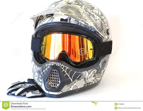 motocross helmets with goggles motorcycle helmet goggles gloves stock photography image