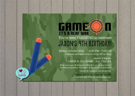 printable birthday invitations target nerf gun party laser tag camouflage 13th 16th boys