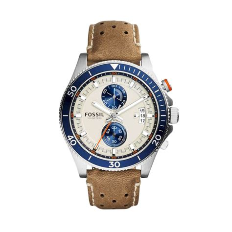 Jam Tangan Pria Cowo Fossil Chrono On Leather Black Paling Mur jual fossil wakefield chronograph leather ch2951 jam