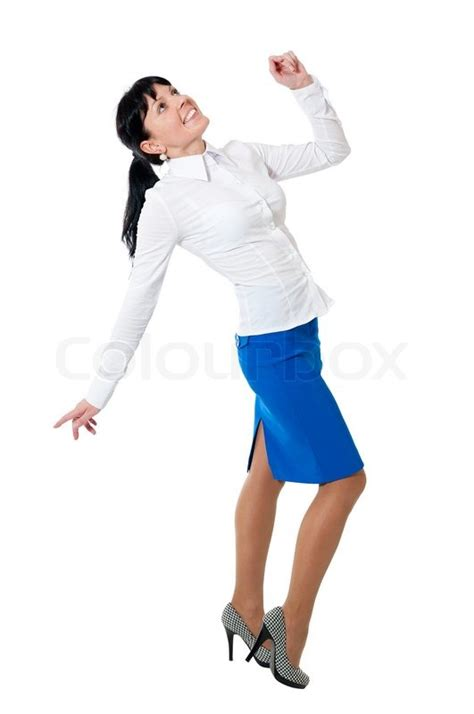 in white shirt and blue skirt isolated on