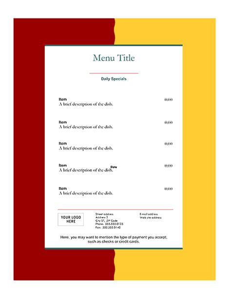 free restaurant menu templates microsoft word templates
