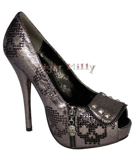 iron skull ruff rider platform shoes heels pewter uk