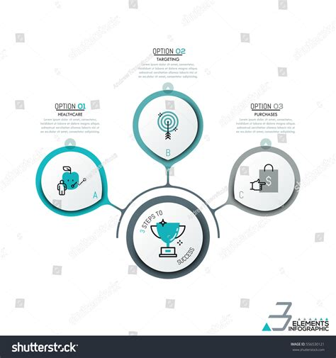 infographic element layout infographic design layout 3 round elements stock vector