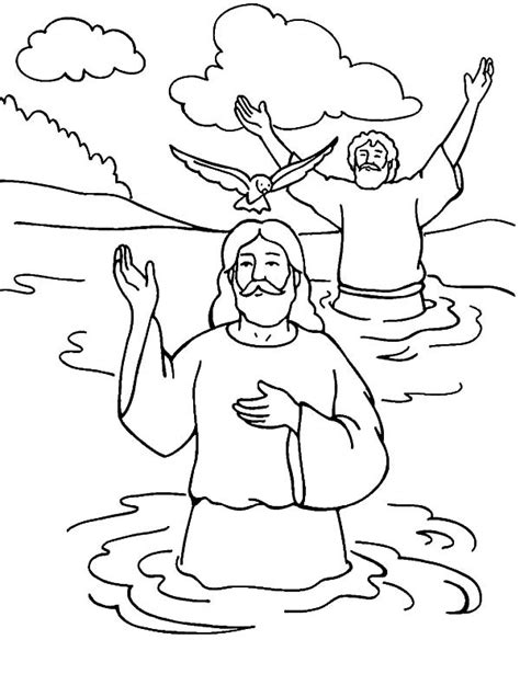 coloring pages john the baptist baptized jesus welcoming holy spirit in baptism of jesus coloring pages