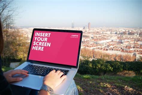 mock up your design here laptop screen mock up design psd file free download