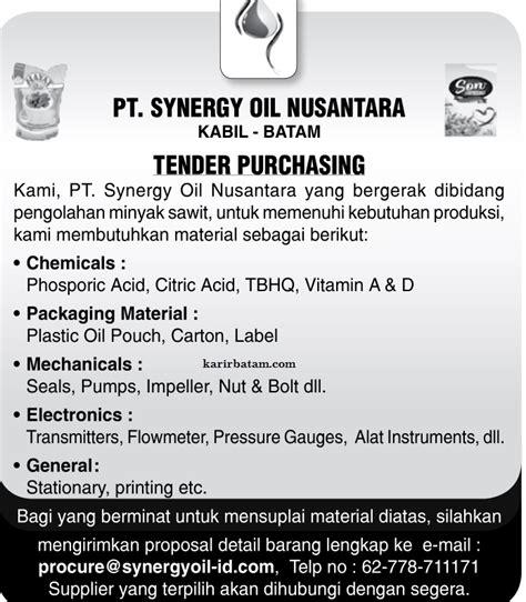 lowongan kerja pt synergy oil nusantara lowongan kerja