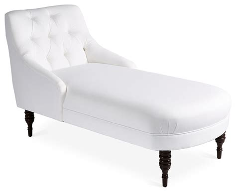white tufted chaise lounge lillian tufted chaise white twill contemporary indoor