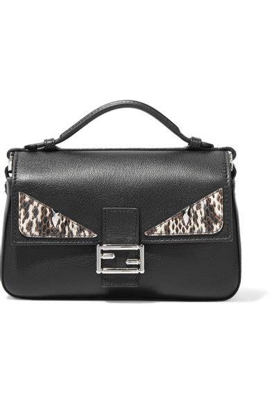 Fendi Micro 2face Baguette Elaphe Trimmed Shoulder Bags fendi baguette micro elaphe trimmed leather