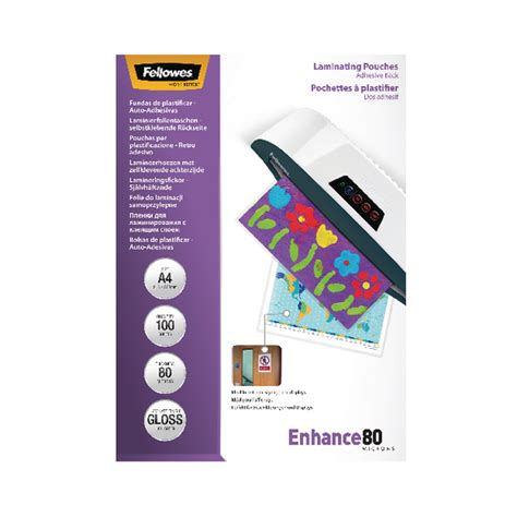 fellowes a4 adhesive backed laminating pouch pack of 100
