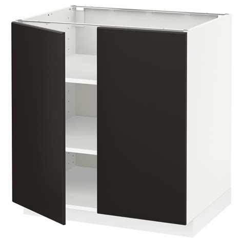 Ikea Kitchen Base Cabinets by Metod Base Cabinet With Shelves 2 Doors White Kungsbacka
