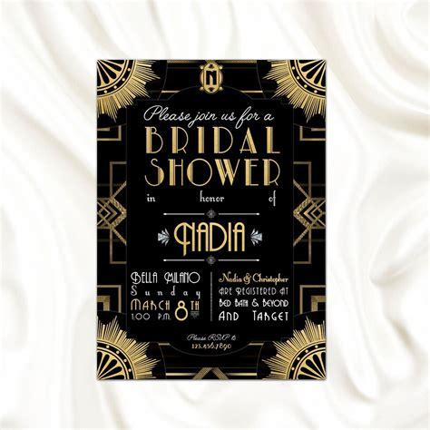 great gatsby themed bridal shower the great gatsby theme bridal shower invitation bachelorette roaring 20 s