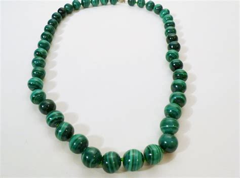 malachite bead necklace beautiful authentic malachite bead necklace from rubylane