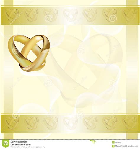 gold wedding cards templates a wedding invitation card with gold rings stock vector